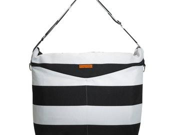 BLACK STRIPE PRIVÉ Messenger Diaper Bag with Vegan Leather Water resistant / Waterproof Changing pad Stroller rings