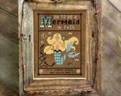 Mermaid Poem Cross Stitch Pattern Primitive Instant Download Digital PDF