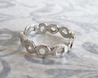 Organic circle silver ring , Hammered stacking ring , Stackable silver ring , Handmade by Adi Yesod