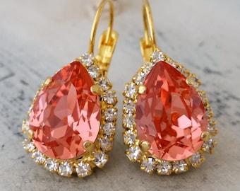 Peach coral crystal drop earrings, Swarovski crystal halo teardrop earrings, Drop earring, Bridal earrings, Bridesmaids gift, Dangle earring