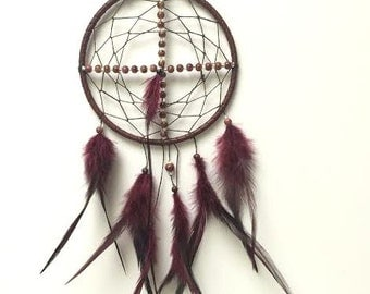 Medicine Wheel Dream Catcher - Modern Dreamcatcher - Burgundy, Red, Brown, Feather Wall Hanging - Beaded Dream Catcher