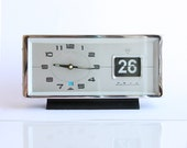 Vintage wind up alarm clock with flip date calendar NEW OLD STOCK Working 1970's retro mechanical table clock Diamond Fathers day gift idea