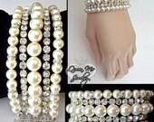 Couture pearl cuff bracelet ~ 5 Strand ~ Cuff statement bracelet ~ Swarovski pearls and rhinestones ~ Jewelry ~ Brides bracelet ~ Stunning