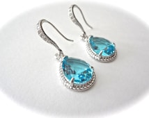 Aquamarine Earrings ~ Teardrops ~ Czech glass ~ Sterling Silver ear wires ~  Something blue ~  Bridesmaids ~ March birthstone ~ Gift ~