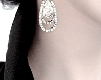 Long Rhinestone Earrings ~ Elegant ~ Brides earrings ~ Sterling silver posts ~ Bridal Jewelry ~ Bridesmaids ~ Prom ~ Gift ~  Sharp & Classy