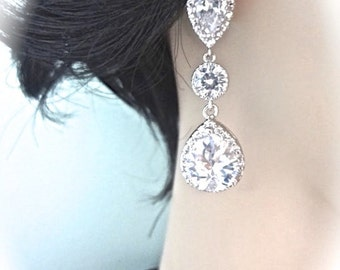 Cubic zirconia earrings ~ Brides earrings ~ Sterling posts ~ Teardrops ~ High quality ~ Bridal jewelry ~ Bridesmaids ~ Classic ~ Gift