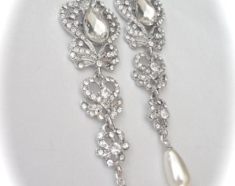 "Long rhinestone and pearl earrings ~ 4"" long ~ Statement earrings ~ Crystal chandelier earrings ~ Vintage style ~ Brides earrings ~ SARAH"
