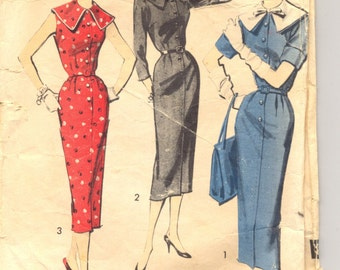 Vintage 1950's Women's Dress Pattern, Advance 8234 Sewing Pattern, Size 16