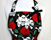 Apron SKULLS & ROSES, Red and Black, Goth Emo Sexy Lace RUFFLED Flounce, Alexander Henry, Pretty Party Hostess, Unique Gift