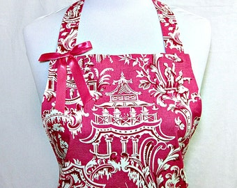 Apron TOILE Ruffled Asian CHINOISERIE, Pink & White, Lace Trimmed Double RUFFLE, Pretty Party Hostess, Unique Gift