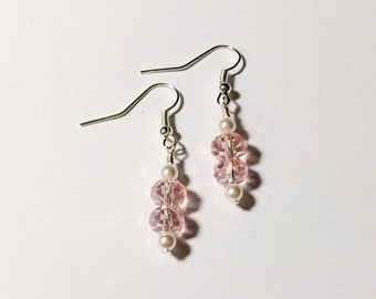 Pink Earrings Stocking Stuffer Christmas Gifts Bridesmaid Friendship Gift Dangle Earrings Mom Girlfriend Sister Women's Gift