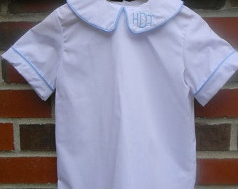 Peter Pan Collar Boys Shirt Monogram- Sizes 3 months-6 Ready to Ship