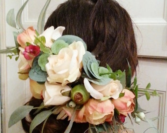 Gumnut - Silk flower crown, hair circlet. Flower and foliage hair accessory.
