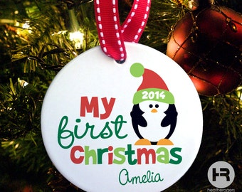 baby's first christmas ornament - Penguin 1st Christmas Ornament, Porcelain Penguin Christmas Ornament