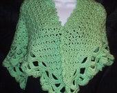 Mint Green Hand Crocheted Shawl