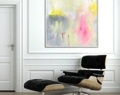 LARGE Art Giclee Print of abstract painting Nursery Decor Abstract Art, grey yellow pink