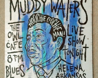 Muddy Waters blues folk art painting on wood by Grego of mojohand.com - outsider art