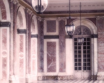Architecture Art, Versailles Photo, Grand Trianon, Pink Decor, Wall Art, Pink Art Print, Romantic Photograph, Pink and Black Decor