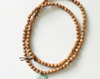 Fragrant Sandalwood and Lotus Flower 108 Bead Mala Prayer Necklace - Lotus Flower Charm Yoga Jewelry