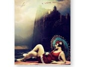 "Love Art Print, Dramatic, Mixed Media Collage, Vintage Bathing Beauty, Wall Decor, Romantic, Gothic, ""I Love You"""