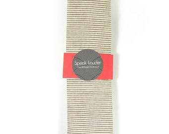 Wedding Mens Skinny Necktie- striped chocolate ivory Chambray- Laid-Back necktie
