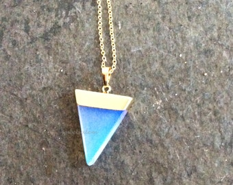 Gold Triangle Opal Necklace Geometric Shape Gemstone Modern Delicate Simple Everyday Long Layering Layered Jewelry Gift White Stone C1