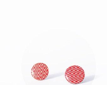 red stud earrings chevron post earrings large studs funky earrings recycled record jewelry colorful jewelry resin jewellery gift for her