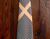 vintage 1940s Tie Bold Look Swing Era geometric Wide Necktie brown and peach rayon Holiday Gift