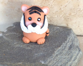 Tiger Pocket Totem,  Miniature Tiger Figurine, Polymer Clay Tiger Figurine, Pocket Totem, Geekery Figurine by Classon Creations