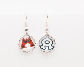 Pokemon earrings - Team Magma and Team Aqua mismatched earrings