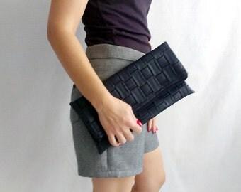Black leather clutch, black fold over clutch, vegan leather clutch, clutch purse, faux leather clutch, vegan leather bag