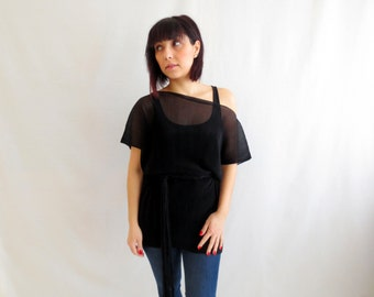 Black sheer top, chiffon top, womens top,black sheer blouse,oversized top, short sleeved tshirt, black tunic, black top, tshirt tunic