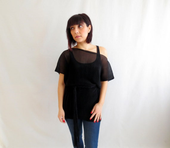 Black sheer top, chiffon top, womens top,black sheer blouse,oversized top, short sleeved tshirt, black tunic, black top, tshirt tunic