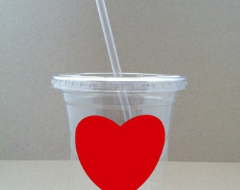 24 Red Heart Party Cups, Lids, and Plastic Straws - 12 oz or 16 oz - Valentines Day, Wedding, Birthday, Baby Shower, Party
