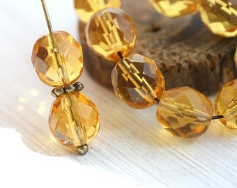 8mm round beads, Amber Topaz beads, czech beads, Fire polished, amber beads, round faceted spacers - 15Pc - 2104