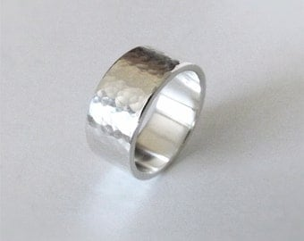 10mm Wide Hammered Silver Band - Custom Made to Order - Argentium Silver