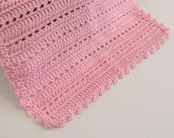 Crochet 18x14 Inch Baby Doll Blanket in Pink
