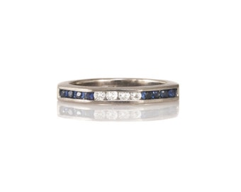 Vintage Diamond and Sapphire Band Ring