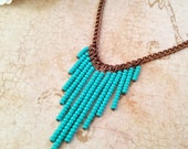 The Heather- Turquoise Seed Bead Chevron Statement Bib Antiqued Copper Necklace