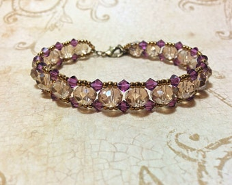 The Charlotte- Champagne and Purple Velvet Swarovski Crystal Bracelet with Antique Gold Seed Beads