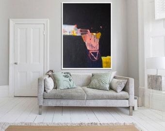 "giclee print of ABSTRACT PAINTING, black print, black and coral print of painting ""Whiff of Saga"""