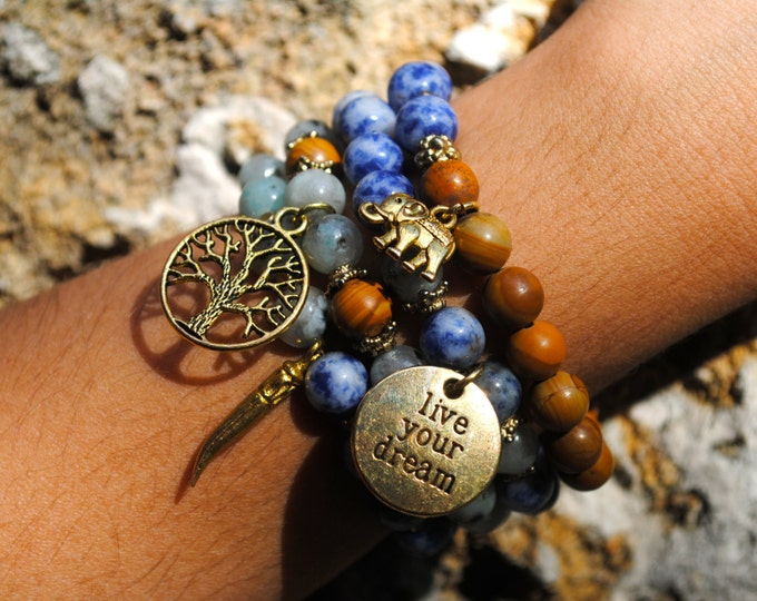 WANDERLUST YOGA Bracelet Set - Jasper, Tree of Life, Elephant, Horn