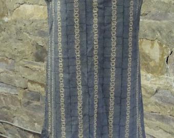 slate blue tan COTTON SHIFT DRESS vintage 1960's handmade M