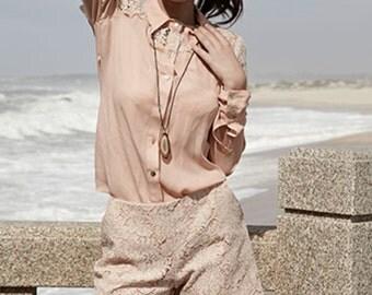 pink laceshorts with scallop hem - size XS, S, M, L, XL - boho gypsy hippie fashion blogger style