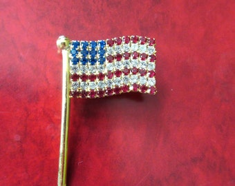 Rhinestone Flag Pin Vintage Costume Jewelry Red White Blue USA Never Worn Patriotic Protest Republican Democrat Presidential Election