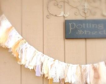 Farmhouse Rag Garland Elegant Fabric Torn Lace Garland Satin Banner Chiffon Fabric Garland Girls Room, Wedding, Celebration Decor  5+ Ft