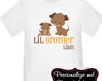 Little Brother Puppy Dog Personalized T-Shirt Boys Big Brother Shirt