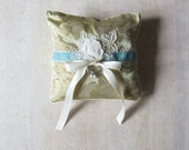 Ring Bearer Pillow Silk and Vintage Rose in Sage