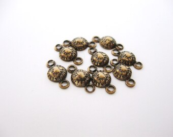 9 Brass Oxidized Connectors, Round Embossed Art Nouveau Jewelry Finding, 8mm, 2 Ring