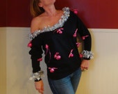 Sexy Ugly Christmas Sweater Sweatshirt Black Pink Silver Xmas Off the shoulder - Cropped Size S M L XL Plus Size 2XL 3XL